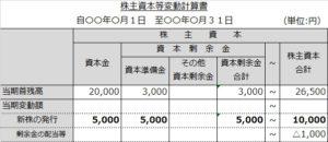 株主資本等変動計算書(新株)