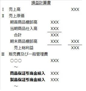 商品保証引当金繰入のPL表記