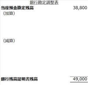 銀行勘定調整表企業基準フォーム空白