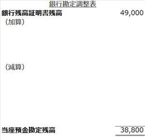 銀行勘定調整表銀行基準フォーム空白